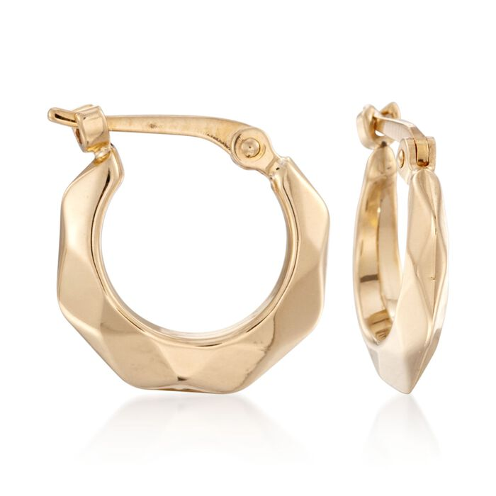 "14kt Yellow Gold Faceted Hoop Earrings. 7/16"", , default"