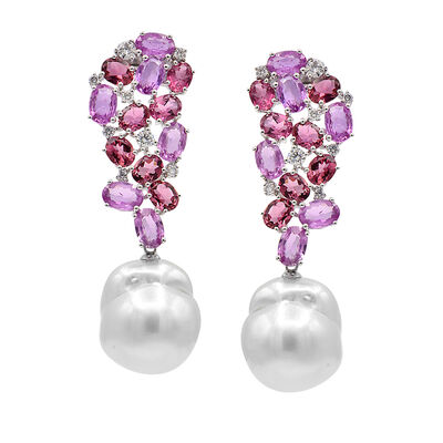Cultured South Sea Baroque Pearl and 11.25 ct. t.w. Multi-Gemstone Drop Earrings with .61 ct. t.w. Diamond in 18kt White Gold