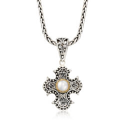 Balinese Cultured Button Pearl Cross Pendant Necklace in Sterling Silver and 18kt Gold, , default