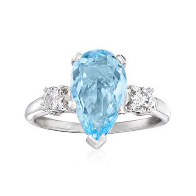 C. 1990 Vintage 2.25 Carat Aquamarine and .25 ct. t.w. Diamond Ring in 14kt White Gold