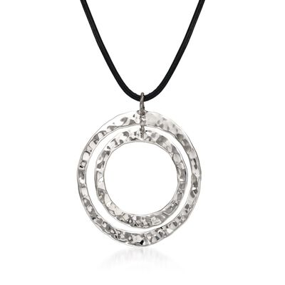 "Zina Sterling Silver ""Sahara"" Double Circle Pendant Necklace, , default"
