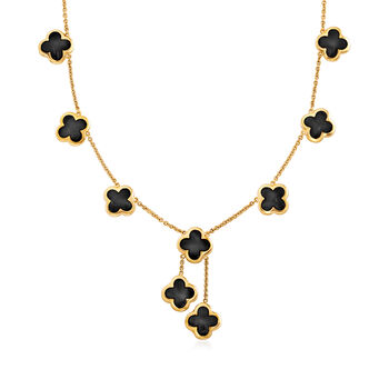 "C. 1980 Vintage Mother-Of-Pearl and Onyx Flower Necklace in 18kt Yellow Gold. 16.5"", , default"