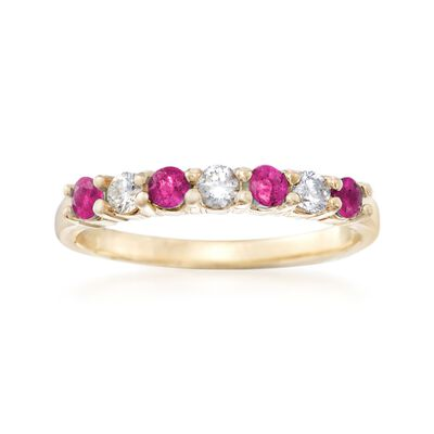 .50 ct. t.w. Ruby and .20 ct. t.w. Diamond Ring in 14kt Yellow Gold, , default