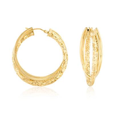 Italian 14kt Yellow Gold Intertwined Hoop Earrings