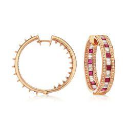 "3.50 ct. t.w. Ruby and 3.35 ct. t.w. Diamond Inside-Outside Hoop Earrings in 18kt Rose Gold. 1"", , default"