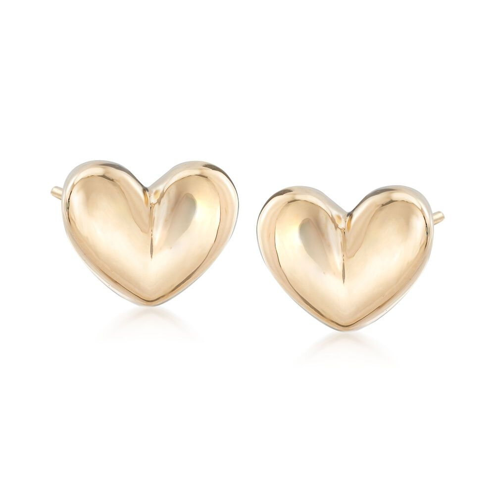 Italian 18kt Yellow Gold Puffed Heart Earrings Default