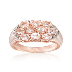 1.50 ct. t.w. Morganite Cluster Ring in 14kt Rose Gold Over Sterling, , default