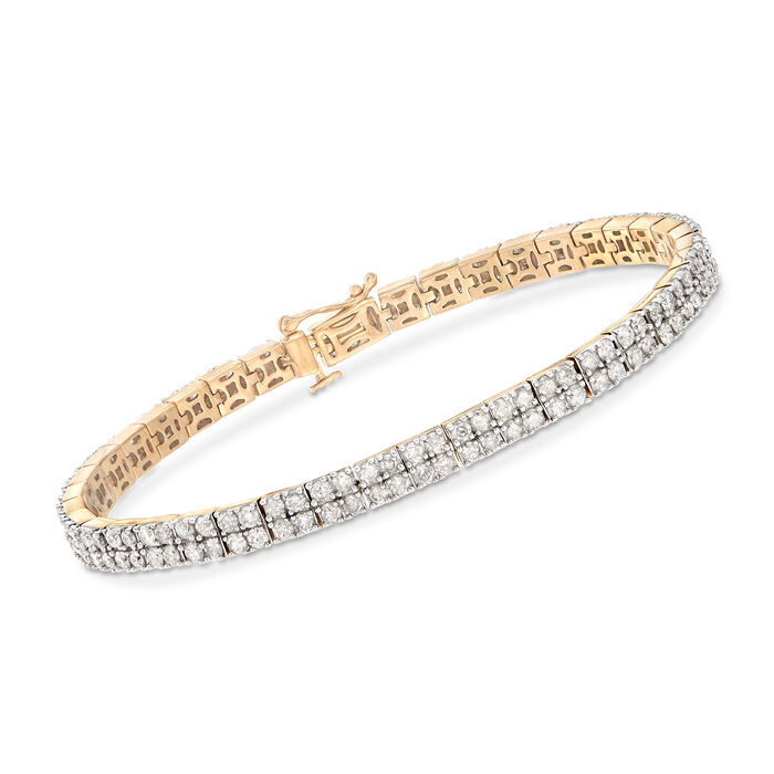 5.00 ct. t.w. Diamond Two-Row Bracelet in 18kt Gold Over Sterling, , default