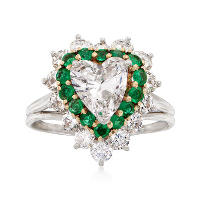 C. 1990 Vintage 2.97 ct. t.w. Diamond and .70 ct. t.w. Emerald Heart Ring in Platinum, , default