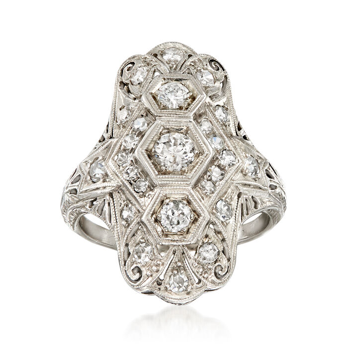 C. 1950 Vintage .80 ct. t.w. Diamond Dinner Ring in Platinum. Size 5