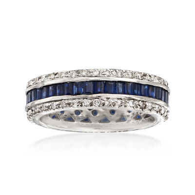 C. 2000 Vintage .60 ct. t.w. Diamond and .20 ct. t.w. Sapphire  Eternity Ring in 18kt White Gold, , default