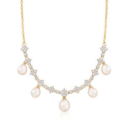 C. 1990 Vintage Cultured Pearl and 1.05 ct. t.w. Diamond Drop Necklace in 14kt Yellow Gold, , default