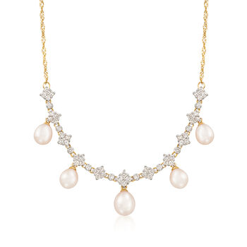 """C. 1990 Vintage Cultured Pearl and 1.05 ct. t.w. Diamond Drop Necklace in 14kt Yellow Gold. 14.5"""", , default"""