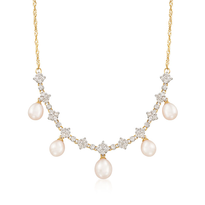 "C. 1990 Vintage Cultured Pearl and 1.05 ct. t.w. Diamond Drop Necklace in 14kt Yellow Gold. 14.5"", , default"