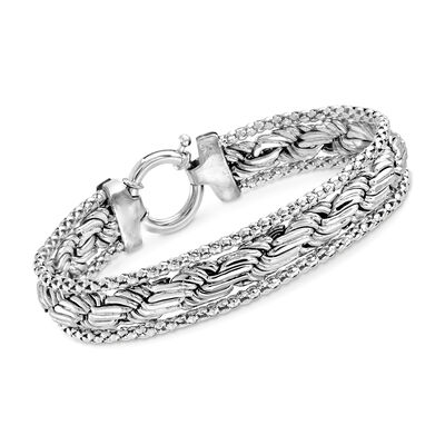Sterling Silver Popcorn and Rope Chain Bracelet, , default