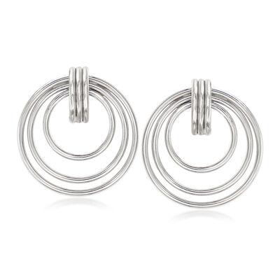 Italian Sterling Silver Multi-Circle Drop Earrings