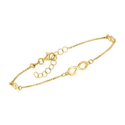 Italian 14kt Yellow Gold Infinity Station Bracelet, , default