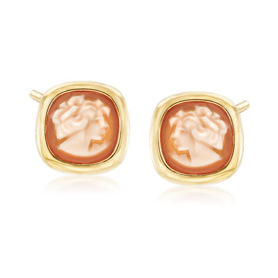 Italian Square Shell Cameo Earrings in 18kt Gold Over Sterling Silver , , default