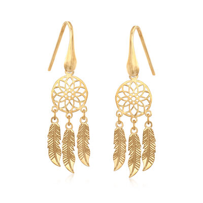 Italian 14kt Yellow Gold Dreamcatcher Drop Earrings, , default