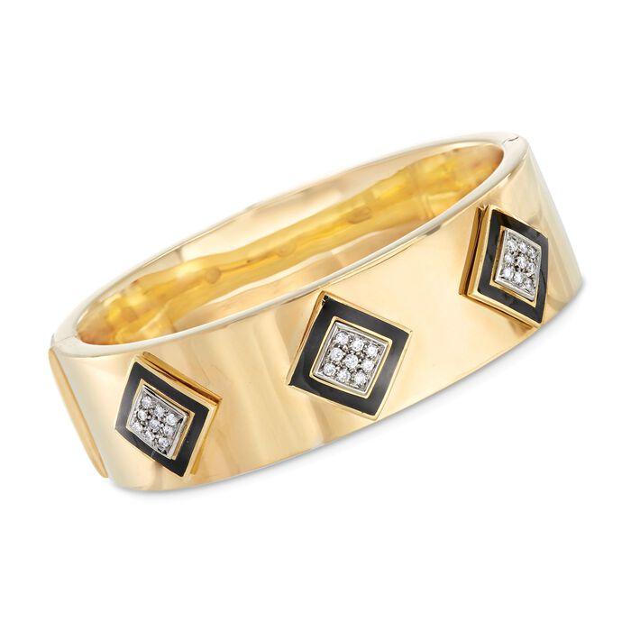 "C. 1980 Vintage Black Onyx and .55 ct. t.w. Diamond Three Station Bangle Bracelet in 18kt Gold. 7"", , default"
