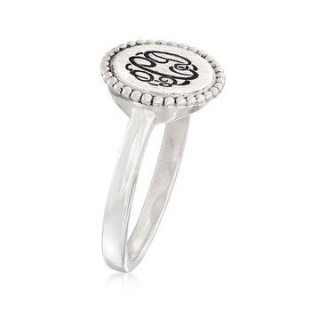 Sterling Silver Monogram Beaded Disc Ring