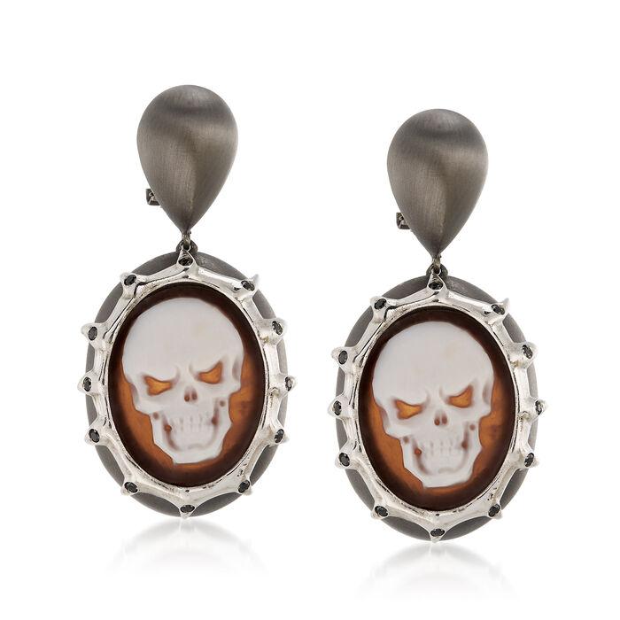 Italian .30 ct. t.w. Black CZ Skull Cameo Drop Earrings in Sterling Silver