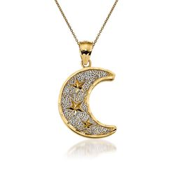 "14kt Yellow Gold Moon Pendant Necklace. 18"", , default"