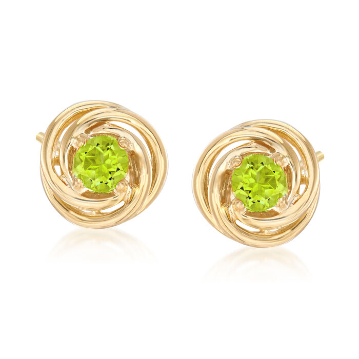 1.00 ct. t.w. Peridot Love Knot Earrings in 18kt Gold Over Sterling Silver