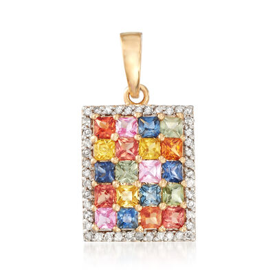 2.00 ct. t.w. Multicolored Sapphire and .16 ct. t.w. Diamond Pendant in 14kt Yellow Gold, , default