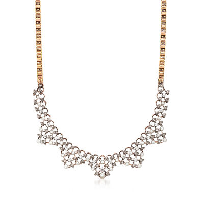 C. 1900 Vintage Cultured Pearl and 2.20 ct. t.w. Diamond V-Shaped Necklace in 14kt Two-Tone Gold, , default
