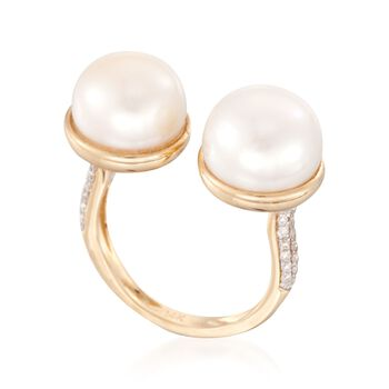 10-10.5mm Cultured Pearl and .20 ct. t.w. Diamond Ring in 14kt Yellow Gold, , default