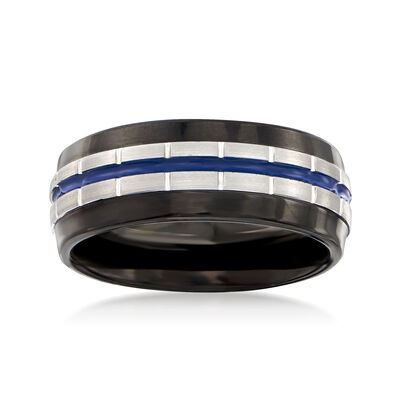 Men's 8mm Tungsten Carbide Wedding Ring With Blue Stripe, , default