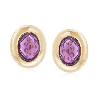 6.25 ct. t.w. Amethyst Earrings in 14kt Yellow Gold, , default