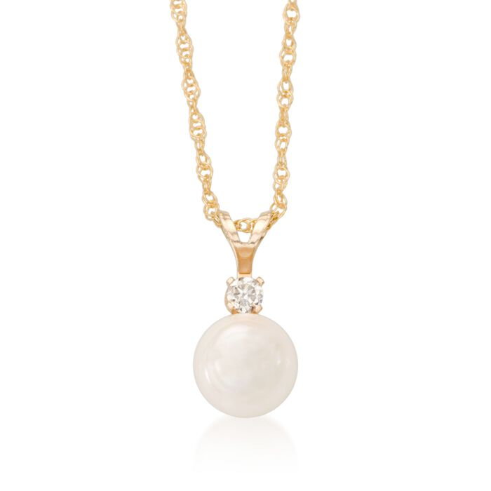 "6-6.5mm Cultured Akoya Pearl and Diamond Accent Necklace in 14kt Yellow Gold. 18"", , default"