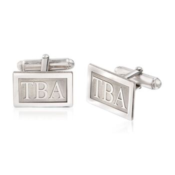 Sterling Silver Raised Three Initial Cuff Links, , default