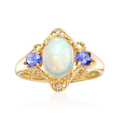 Opal and .30 ct. t.w. Tanzanite Ring with Diamond Accents in 14kt Yellow Gold, , default