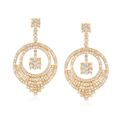 3.00 ct. t.w. Diamond Open-Circle Drop Earrings in 14kt Yellow Gold, , default