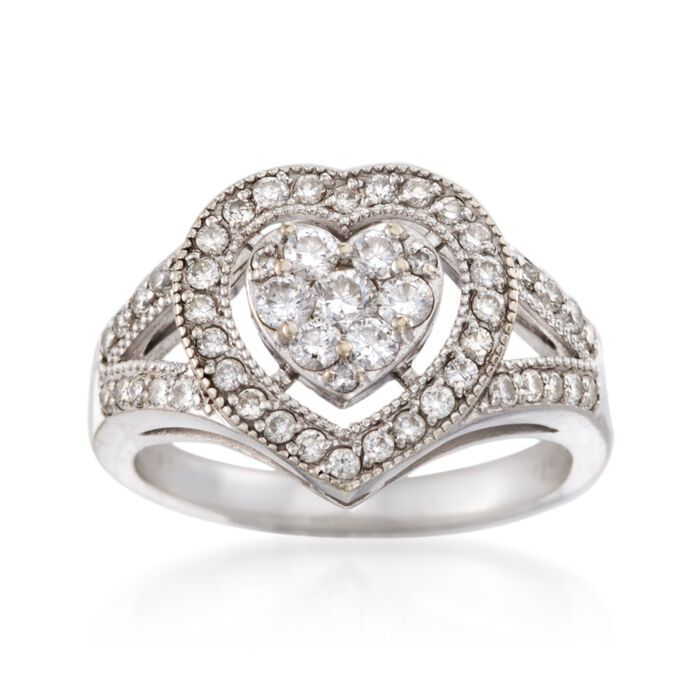 C. 1990 Vintage .65 ct. t.w. Diamond Heart Ring in 14kt White Gold. Size 6.5, , default