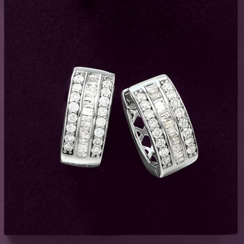 "1.00 ct. t.w. Baguette and Round Diamond Hoop Earrings in Sterling Silver. 1/2"""