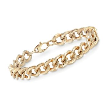 "Italian 14kt Yellow Gold Textured and Polished Curb-Link Bracelet. 8"", , default"