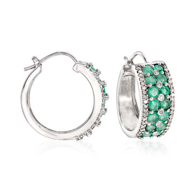 1.90 ct. t.w. Emerald and .43 ct. t.w. Diamond Hoop Earrings in Sterling Silver, , default