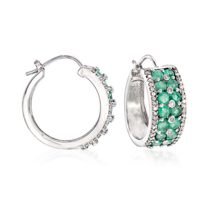 "1.90 ct. t.w. Emerald and .43 ct. t.w. Diamond Hoop Earrings in Sterling Silver. 3/4"", , default"