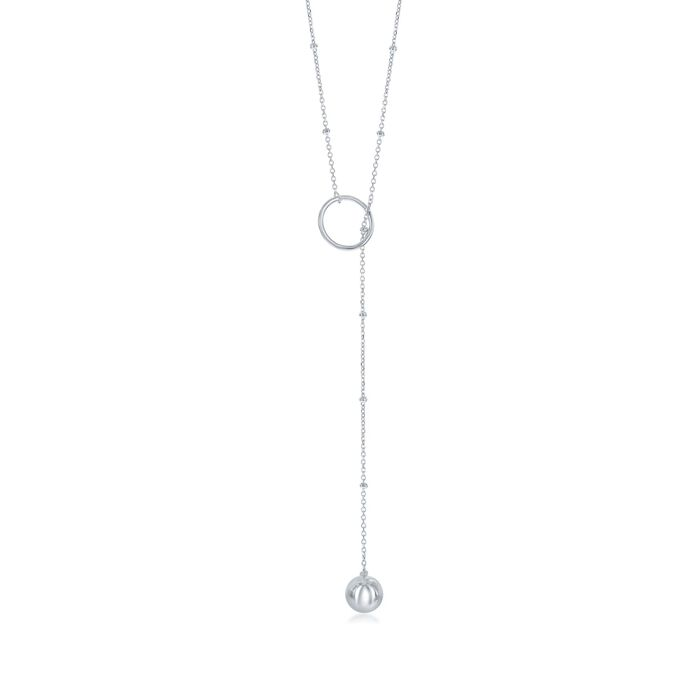 Sterling Silver Circle and Bead Lariat Necklace, , default
