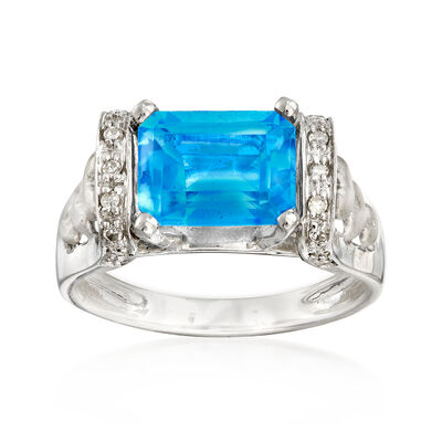 C. 1980 Vintage 2.70 Carat Blue Topaz Ring With Diamond Accents in 14kt White Gold, , default