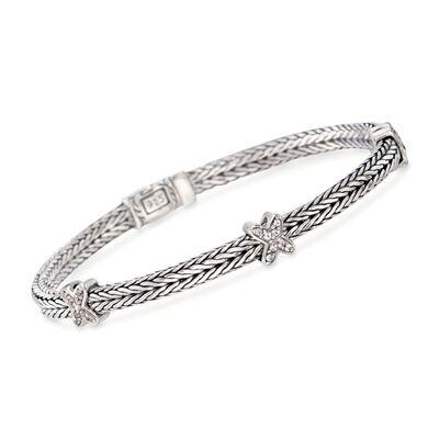 "Phillip Gavriel ""Woven"" .20 ct. t.w. White Sapphire Small X Station Link Bracelet in Sterling Silver, , default"