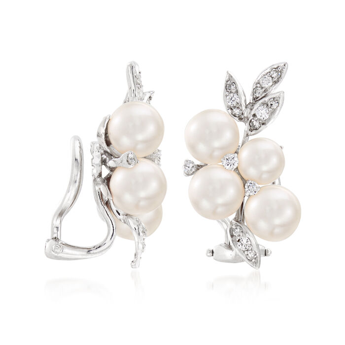 C. 1980 Vintage 6mm Cultured Pearl and .50 ct. t.w. Diamond Cluster Clip-On Earrings in 14kt White Gold