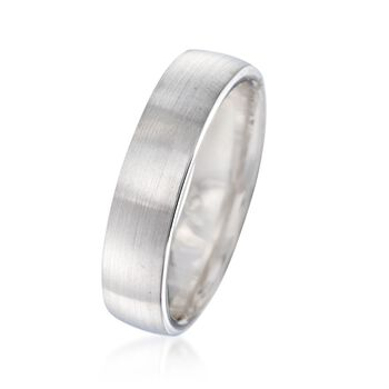 Men's 5.5mm 14kt White Gold Brushed Wedding Ring, , default