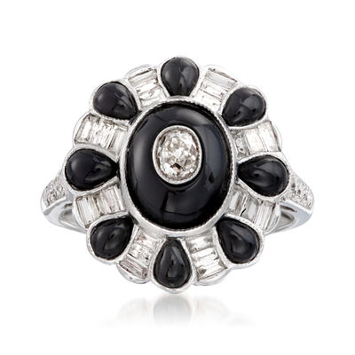 C. 2000 Vintage Black Onyx and .65 ct. t.w. Diamond Ring in 18kt White Gold