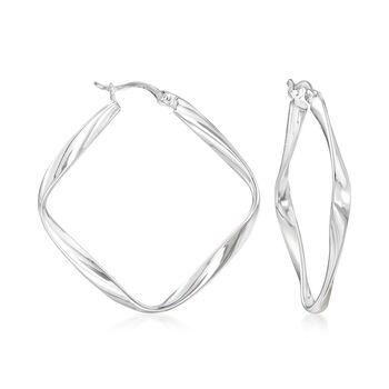"""Sterling Silver Squared Twist Hoop Earrings. 1 3/8"""", , default"""