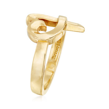 """C. 1990 Vintage Tiffany Jewelry """"Paloma Picasso"""" Heart Ring in 18kt Yellow Gold. Size 6"""